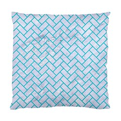 Brick2 White Marble & Turquoise Colored Pencil (r) Standard Cushion Case (one Side) by trendistuff