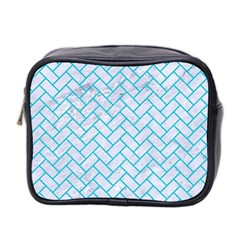 Brick2 White Marble & Turquoise Colored Pencil (r) Mini Toiletries Bag 2 Side by trendistuff