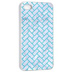 Brick2 White Marble & Turquoise Colored Pencil (r) Apple Iphone 4/4s Seamless Case (white) by trendistuff