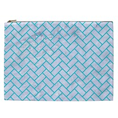 Brick2 White Marble & Turquoise Colored Pencil (r) Cosmetic Bag (xxl)  by trendistuff