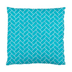 Brick2 White Marble & Turquoise Colored Pencil Standard Cushion Case (one Side) by trendistuff