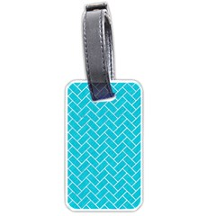 Brick2 White Marble & Turquoise Colored Pencil Luggage Tags (two Sides) by trendistuff