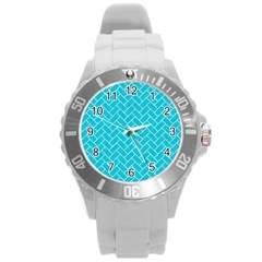 Brick2 White Marble & Turquoise Colored Pencil Round Plastic Sport Watch (l) by trendistuff