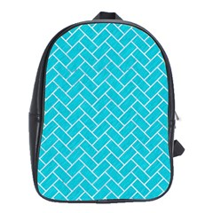 Brick2 White Marble & Turquoise Colored Pencil School Bag (xl) by trendistuff