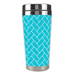 Brick2 White Marble & Turquoise Colored Pencil Stainless Steel Travel Tumblers by trendistuff