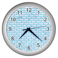 Brick1 White Marble & Turquoise Colored Pencil (r) Wall Clocks (silver)  by trendistuff