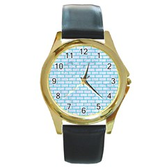 Brick1 White Marble & Turquoise Colored Pencil (r) Round Gold Metal Watch