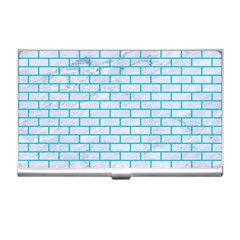 Brick1 White Marble & Turquoise Colored Pencil (r) Business Card Holders by trendistuff