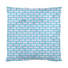 Brick1 White Marble & Turquoise Colored Pencil (r) Standard Cushion Case (one Side) by trendistuff