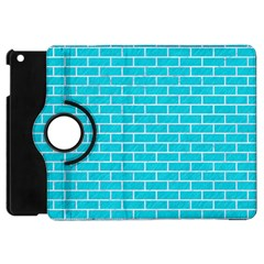 Brick1 White Marble & Turquoise Colored Pencil Apple Ipad Mini Flip 360 Case by trendistuff