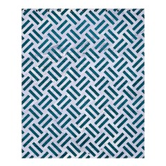 Woven2 White Marble & Teal Leather (r) Shower Curtain 60  X 72  (medium)  by trendistuff