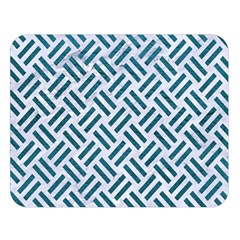 Woven2 White Marble & Teal Leather (r) Double Sided Flano Blanket (large)