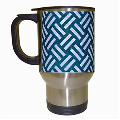 Woven2 White Marble & Teal Leather Travel Mugs (white) by trendistuff