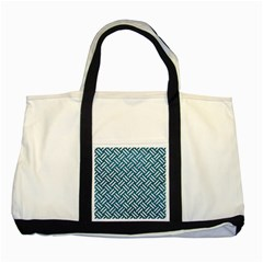 Woven2 White Marble & Teal Leather Two Tone Tote Bag by trendistuff
