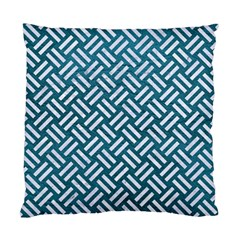 Woven2 White Marble & Teal Leather Standard Cushion Case (one Side) by trendistuff