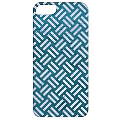 Woven2 White Marble & Teal Leather Apple Iphone 5 Classic Hardshell Case by trendistuff