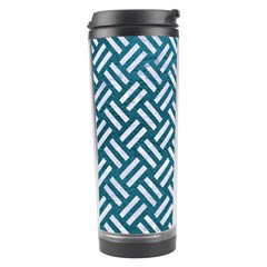 Woven2 White Marble & Teal Leather Travel Tumbler by trendistuff