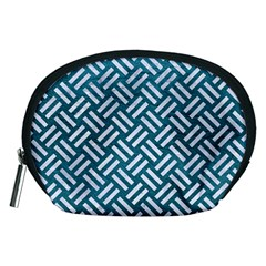 Woven2 White Marble & Teal Leather Accessory Pouches (medium)  by trendistuff