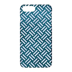 Woven2 White Marble & Teal Leather Apple Iphone 8 Plus Hardshell Case