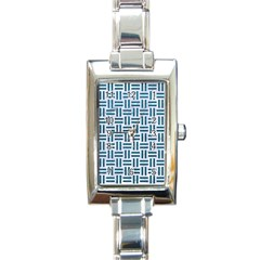 Woven1 White Marble & Teal Leather (r) Rectangle Italian Charm Watch