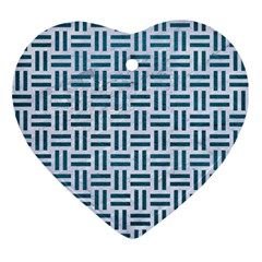 Woven1 White Marble & Teal Leather (r) Ornament (heart)