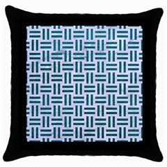 Woven1 White Marble & Teal Leather (r) Throw Pillow Case (black) by trendistuff