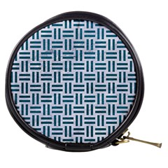 Woven1 White Marble & Teal Leather (r) Mini Makeup Bags by trendistuff
