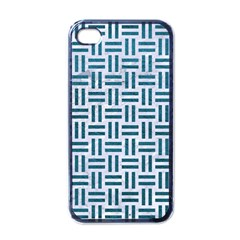 Woven1 White Marble & Teal Leather (r) Apple Iphone 4 Case (black) by trendistuff