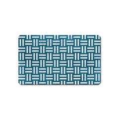 Woven1 White Marble & Teal Leather Magnet (name Card) by trendistuff