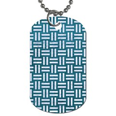 Woven1 White Marble & Teal Leather Dog Tag (one Side) by trendistuff