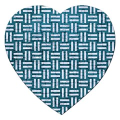 Woven1 White Marble & Teal Leather Jigsaw Puzzle (heart) by trendistuff