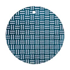 Woven1 White Marble & Teal Leather Round Ornament (two Sides) by trendistuff
