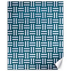 Woven1 White Marble & Teal Leather Canvas 16  X 20   by trendistuff