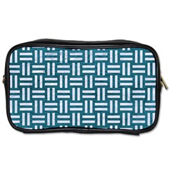 Woven1 White Marble & Teal Leather Toiletries Bags 2 Side by trendistuff