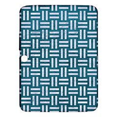 Woven1 White Marble & Teal Leather Samsung Galaxy Tab 3 (10 1 ) P5200 Hardshell Case  by trendistuff