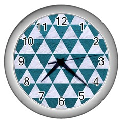 Triangle3 White Marble & Teal Leather Wall Clocks (silver)  by trendistuff