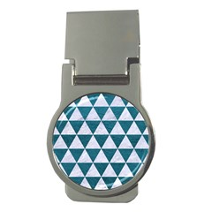 Triangle3 White Marble & Teal Leather Money Clips (round)  by trendistuff