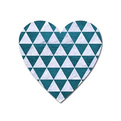 Triangle3 White Marble & Teal Leather Heart Magnet
