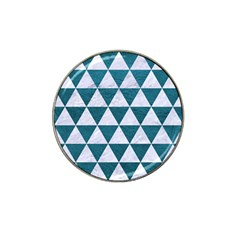 Triangle3 White Marble & Teal Leather Hat Clip Ball Marker by trendistuff