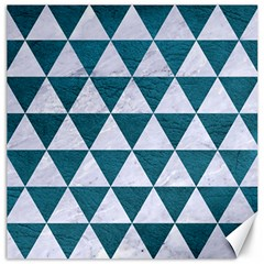Triangle3 White Marble & Teal Leather Canvas 16  X 16   by trendistuff