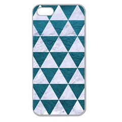 Triangle3 White Marble & Teal Leather Apple Seamless Iphone 5 Case (clear) by trendistuff