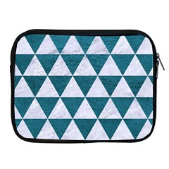 Triangle3 White Marble & Teal Leather Apple Ipad 2/3/4 Zipper Cases by trendistuff