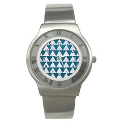 Triangle2 White Marble & Teal Leather Stainless Steel Watch by trendistuff