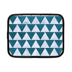 Triangle2 White Marble & Teal Leather Netbook Case (small)  by trendistuff