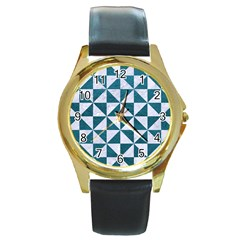 Triangle1 White Marble & Teal Leather Round Gold Metal Watch