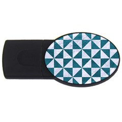 Triangle1 White Marble & Teal Leather Usb Flash Drive Oval (2 Gb) by trendistuff