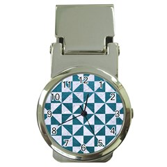 Triangle1 White Marble & Teal Leather Money Clip Watches by trendistuff