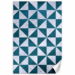 Triangle1 White Marble & Teal Leather Canvas 24  X 36  by trendistuff