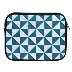 Triangle1 White Marble & Teal Leather Apple Ipad 2/3/4 Zipper Cases by trendistuff