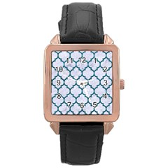 Tile1 White Marble & Teal Leather (r) Rose Gold Leather Watch